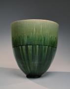 SUZUKI TETSU (b. 1964), Gradated green-glazed flattened conical standing vessel