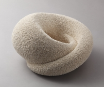 Swirling, rounded sculpture with tiny gathered bundles (florets) of shaved clay covering the entire surface, 2014