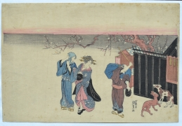 UTAGAWA KUNISADA (1786-1864), Beneath flowering plum at night, couple stops to watch a man warding off stray dogs