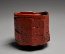 Nishihata Tadashi (b. 1948), Straight-sidedTamba teabowl, covered withakadobe(red slip glaze with iron)