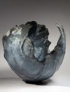 WAKAO KEI (b. 1967), Blue craquelure celadon-glazed flower-shaped vessel with kiln-effect