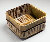 Kitaoji, Rosanjin, Kitaoji Rosanjin, modern, antique, Japanese, ceramics, clay, pottery, oribe, green, blue, yellow, design, square, glaze, straight, walled, vessel, iron oxide, striped, pattern, stoneware, 1948