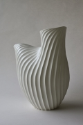 Inaba Chikako (b. 1974), Ribbed, curled leaf-shaped sculptural vessel