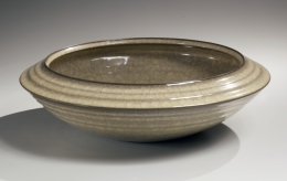 Taupe celadon glazed bowl with beveled edge, 2013