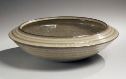 Taupe celadon glazed bowl with beveled edge, 2013
