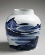 Large porcelain vase with landscape design in cobalt-blue underglaze , early 1970's