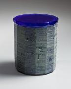Kondo, Takahiro, Kondo Takahiro, contemporary, ceramics, clay, Japanese, pottery, faceted, waterjar, water jar, mizusashi, cobalt, blue, glaze, turquoise, silver, mist, gintekisai, genteki, overglaze, over-glaze, cast, glass, lid, cover, 2015