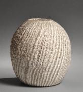 Nishihata Tadashi (b. 1948), Roundneriage(marbleized) vessel with diagonal striation pattern, covered with Tamba-style ash glaze