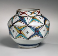 Vase with geometric patterning, ca. 1972