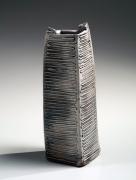 Ichino Masahiko (b. 1961), Square standing vase with trailing slip decoration of stripes