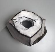 Kaneta Masanao (b. 1953), Rock-like vase with a multi-planarbody, Hagi glazeand extensive kiln effects