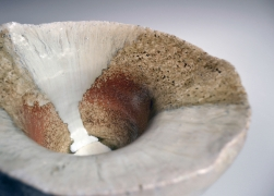 Nishihata Tadashi (b. 1948), Round slightly conical waterjar, covered with Tamba-style ash glazeand matching lid with knob handle