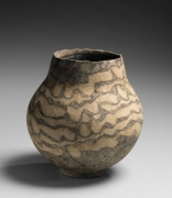 Circular vessel formed with bands of curvilinear colored-clay inlays, 1972
