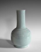 Kawase Shinobu (b. 1950), Craquelure Celadon-glazed vase with bulbous base, tubular neck and carved shoulder