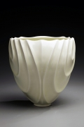 Ono Kotaro, Tall pale yellow celadon-glazed vase, 2009 Glazed porcelain, Japanese contemporary ceramics