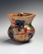 Kawai, Kanjiro, Kawai Kanjiro, tenmoku, glazed, stoneware, ceramic, Japanese, modern, antique, ceramics, tri-color, sancai, red, green, brown, 1950, irregular, abstract, covered, jar, round