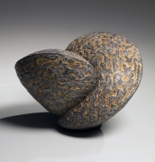 Akashi Ryōtarō (b.1971), Platinum and gold-glazed carved sculpture in the shape of two connecting bulbous forms