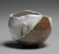 Nishihata Tadashi (b. 1948), Round teabowl with irregular mouth, covered with Tamba glaze