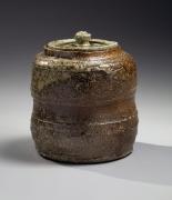 Tsuji Seimei (1927-2008), Shigaraki water jar with crescent-shaped sagar mark and matching cover