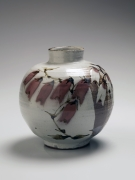 Iron and copper-glazed floral patterned vessel, ca. 1976