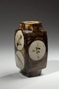Hamada Shoji, iron-glazed vessel, nuka-glazed, glazed stoneware, ca. 1960, Japanese ceramics, Japanese pottery, Japanese vessel, Japanese iron glaze, Japanese modern ceramics