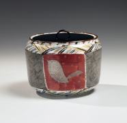 Water jar with bird, abstract and linear patterns, 1982