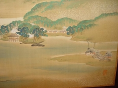 Pair of sleeping screens with shoreline scenes depicting cranes and a small fishing village