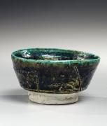 Koie, Ryoji, Koie Ryoji, contemporary, ceramics, Japanese, pottery, clay, blue, green, brown, oribe, glaze, low, sake, cup, guinomi, incised, design, 1985, stoneware