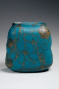 Turquoise and gold glazed flattened lobed vase , ca. 1980