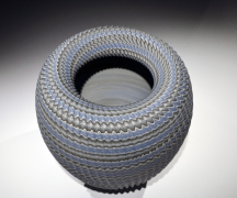"""Ogata Kamio (b. 1949), Neriage(marbleized) vessel with a carved, ridgedsurfacetitled""""Abyss"""""""