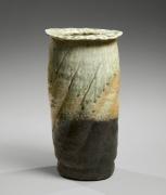 Nishihata Tadashi (b. 1948), Tubular vase with flattened mouth, covered with a Tamba-style ash glaze