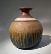 Mori Tōgaku (b. 1937), Large Turnip-shaped, Bizen vase, fired for 107 days in the Sabukaze great kiln, with extensive natural ash glazing