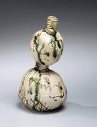 Suzuki Goro, Japanese glazed stoneware, Japanese gourd-shaped vessel, Japanese vessel with oribe-style decoration, 1997