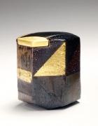 Ajiki Hiro, basara tea caddy, 2010, glazed stoneware, Japanese teaware, Japanese ceramics, Japanese pottery, Japanese clay