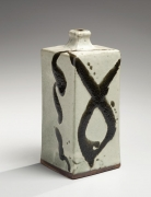 Hamada Shoji, bottle vase, ca. 1960, glazed stoneware, Japanese ceramics, Japanese pottery, Japanese bottle vase, Japanese iron glaze, Japanese modern ceramics