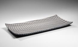 Ogata Kamio (b. 1949), Vertigo; slab platter in clay mosaic