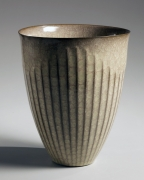 Minegishi Seikō (b. 1952), Narrow-footed vessel with flaring, open mouth and undulating linear design