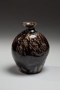 Hamada Shoji, Textured-surface, flattened vessel with dark brown shiogusuri (salt-glaze) and unraised mouth ca. 1955 Glazed stoneware, National Living Treasure Japanese contemporary clay, Japanese contemporary ceramics, Japanese modern ceramics,