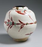 Aka-ered-glazed globular flower vessel, ca. 1965-70