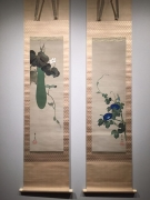 Suzuki Kiitsu (1796-1858), Pair of paintings of blue morning glories paired with blossoming bottle gourd vine