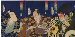 Toyohara Kunichika (1035-1900) Three kabuki actors in their roles from the celebrated play Datemusume koi no higanoko Nakamura Shikan IV (1831-99) as Sato Masakiyo, Kawarazaki Sansho (1838-1903) [Ichikawa Danjuro IX] as Matsuda Samonnosuke Arashi Rikaku [Rikan] IV (1837-94) as Kishizawa Minbu 1867, 7th month Oban tate-e tryptych, Japanese woodblock prints, ukiyoe, ukiyo-e, hanga, yakusha, actor prints, Ichikawa Danjuro