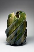Kato, Yasukage, Kato Yasukage, Japanese, ceramics, contemporary, oribe, green, glazed, glazed stoneware, stoneware, vessel, vase, twisting, diagonal, 2007