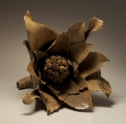 Sugiura Yasuyoshi, Japanese glazed stoneware, Japanese ceramic sculpture, butterbur sprout, 2004