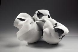 Fujino Sachiko, Transformation 14-7, flower-inspired sculpture, 2014, stoneware with matte glaze, Japanese ceramics, Japanese pottery, Japanese contemporary ceramics, Japanese sculpture