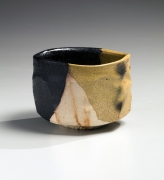 Katō Yasukage (1964-2012), Mino ware, Kiseguro (Yellow and Black Seto) teabowl with hidasuki (straw burn marks)