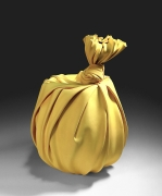 Tanaka YÅ« (b. 1989), Yellow sculpture in the shape of knotted furoshiki (wrapping cloth) enveloping a large Tsubo
