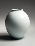Yamada, Hikaru, Yamada Hikaru, ovoid, vessel, tsubo, vase, raised, mouth, low, foot, 1980, contemporary, modern, sodeisha, avant-garde, ceramics, Japanese, Japanese ceramics, Japan, pottery, clay, porcelain, glazed