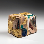 Nakamura, Takuo, Nakamura Takuo, contemporary, art, Japan, ceramics, Japanese, pottery, rinpa, painting, ise, monogatari, glazed, panel, kutani, leaf, pattern, 2015, contemporary Japanese ceramics, stoneware, tiered, box, gold, silver, wave, ivy, iris, box