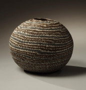 Globular neriage vase, 1982, Japanese contemporary, modern, ceramics, sculpture, Living National Treasure