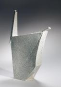 Kishi, Eiko, Kishi Eiko, large, sculpture, bird, colored, clay, inlay, inlaid, 2007, contemporary, Japanese, ceramics, sculpture, objet, stoneware